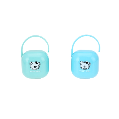 2 Pcs Portable Bébé Sucette Snacks Cas Conteneur Nipple Bouclier Cas De Stockage Boîte Titulaire Unisexe Bleu + Vert