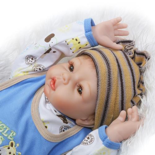 Image de 22 pouces 55 cm Reborn Bébé Poupée Fille PP Remplissage Silicium Avec Girafe Vêtements Réaliste Mignon Cadeaux Jouet