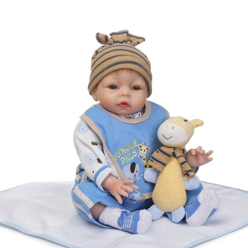 22inch 55cm Reborn Baby Doll Girl PP filling Silicon With Giraffe Clothes Lifelike Cute Gifts Toy
