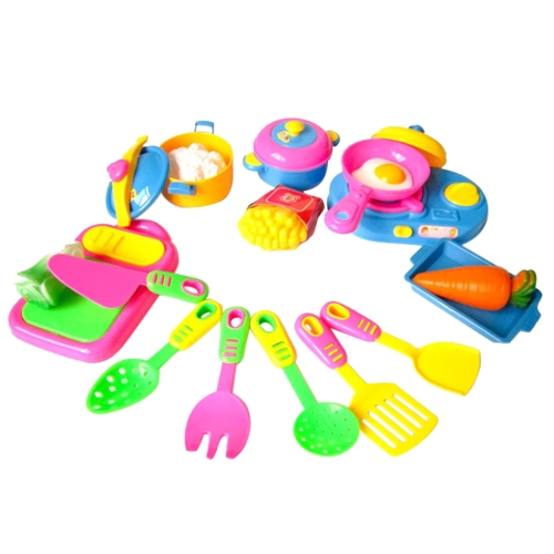 17Pcs Kids Pretend Kitchen Play Toy Set Simulated Kitchen Tableware Pretend Role Play Toy Cooking Tool Children Games