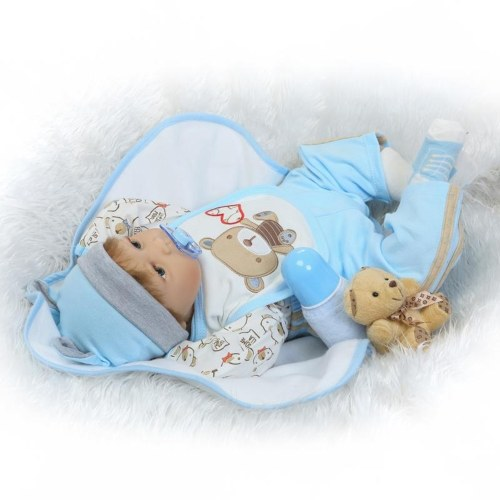 22in Reborn Baby Rebirth Doll Kids Gift Blue Little Bear
