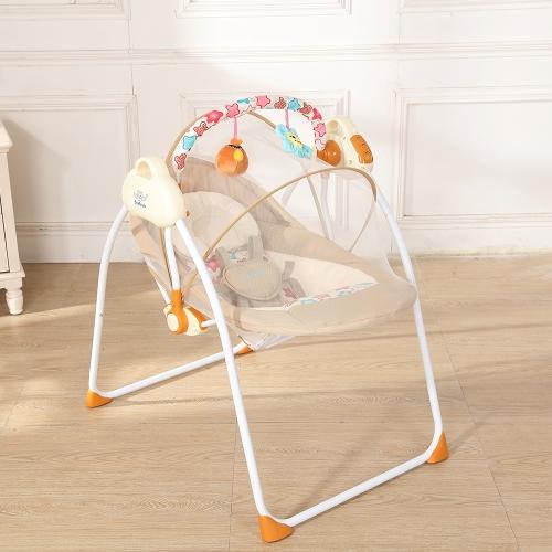 Электрическая детская колыбель Качели Качание Пульт дистанционного управления Председатель Спящая корзина Кроватка для новорожденных Младенческая розовая