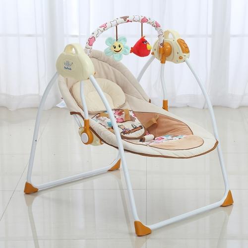 Электрическая детская колыбель Swing Rocking Connect Mobile Play Музыкальное кресло Спящая корзина Кроватка для новорожденных Младенческая розовая