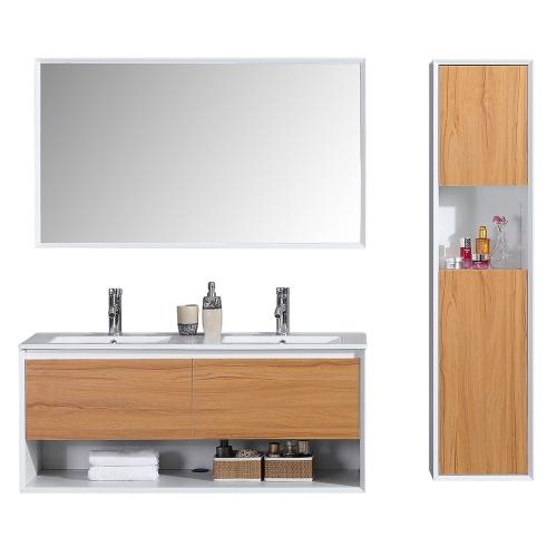 Meuble salle de bain avec colonne de rangement double vasque ALOA