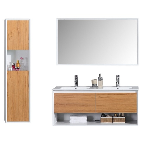 ALOA - Meuble salle de bain double vasque 120cm colonne de rangement + miroir chêne brut