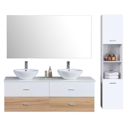 Meuble salle de bain avec colonne de rangement bicolore ALOA - 2 coloris disponibles