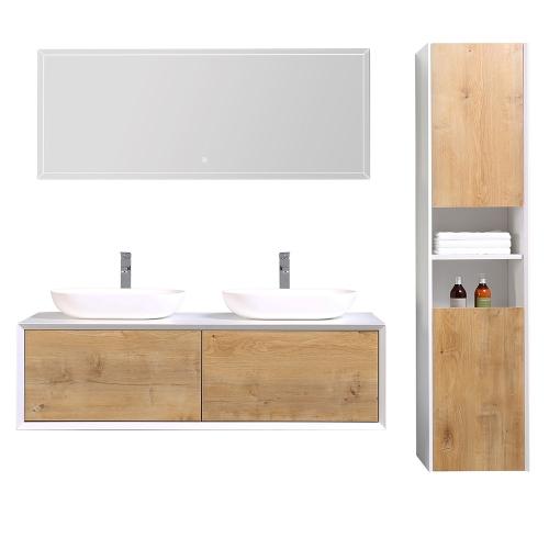Meuble salle de bain avec colonne de rangement double vasque JAVA - 2 coloris disponibles