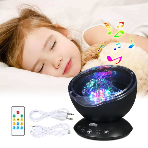 Colorful Night Light Sleep Soother Lamp Ocean Wave Projector Music Player Lamp