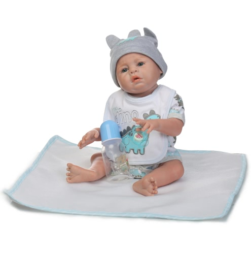 Reborn Baby Doll Baby Bath Toy Full Silicone Body Eyes Open With Clothes 20inch 50cm Lifelike Cute Gifts Toy Boy