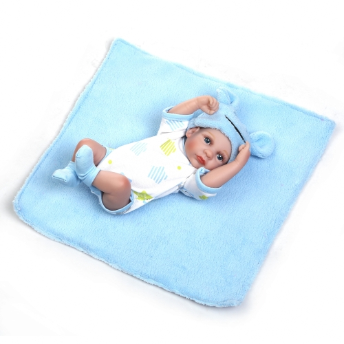 Reborn Baby Doll Baby Bath Toy Full Silicone Body Eyes Open Baby doll Com roupas 10inch 25cm Lifelike Cute Gifts Toy Boy
