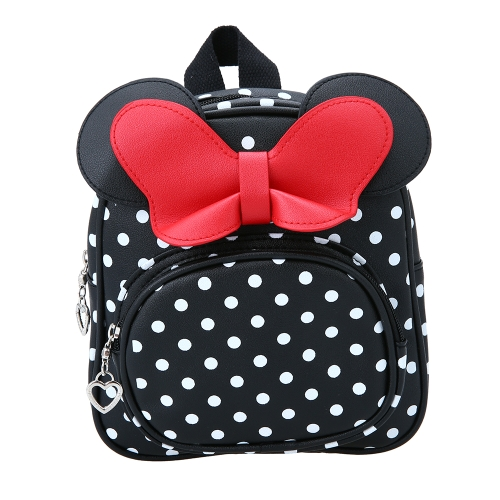 Kids Girl School Backpack Waterproof PU Cute Backpack Children Kindergarten Primary Schoolbags Cartoon Bow Tie Dots Black