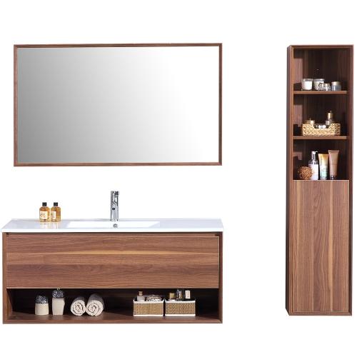 Meuble salle de bain L1200 mm avec colonne de rangement simple vasque ALOA