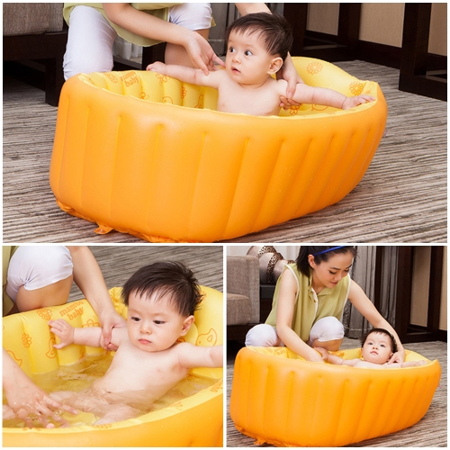 Надувная ванна для ванны для купания Противоскользящая безопасность с центральным сиденьем сидений Blue