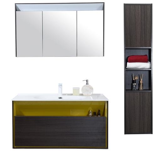 Meuble de salle de bain simple vasque avec colonne de rangement  – existe en 2 coloris