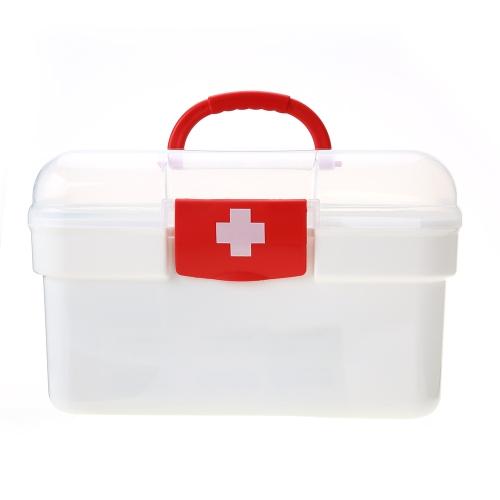 Carevas Plastic First Aid Medicine Organizador de cajas de almacenamiento Handhled Family Emergency Kit Case de almacenamiento con bandeja extraíble