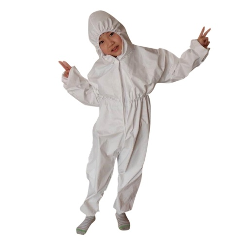 TOMTOP / Coverall Antibacterial Reusable Children Kids Protective Isolation Suit Integrated Hood Flexible Elastic Sleeves Pants Design for Woodshop Food Processing Cleaning Daily Use L Size