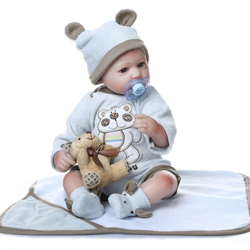 Decdeal 16inch 40cm Reborn Baby Doll Twins Baby in Blanket Lifelike Dolls Blue Eyes Silicone Vinyl & Cotton Body Cute Gifts Lovely Blue Outfit