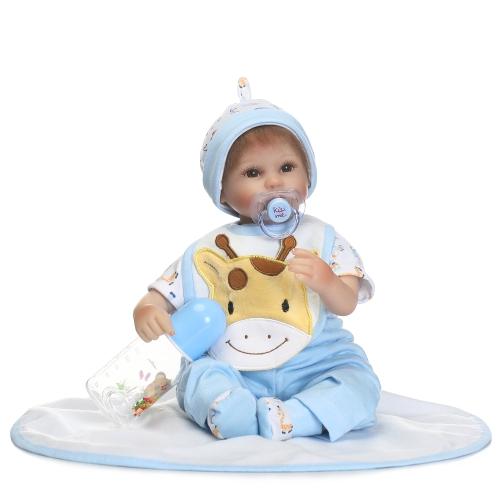16 pulgadas de Silicona Reborn Niño Muñeca Dormir Baby Doll Girl Eyes Cerrar con Cabello Ropa Boneca Realista Regalos Lindos de Juguete
