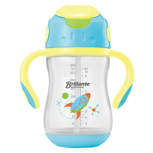 Haierbaby Brillante Baby Straw Sippy Cup Переходный курс для питья бутылок с ручками BPA бесплатно 300 мл Blue