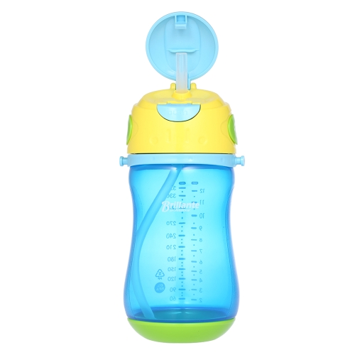 Haierbaby Brillante Kids Child Sippy Cup Trainer Transition Bottle Learner Cup Non-slip With Draw & Detachable Strap BPA Free 350ml Blue