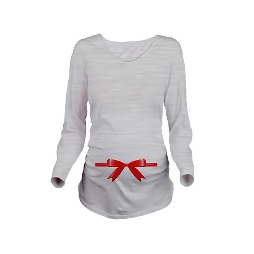 Camisa de maternidad Manga larga Embarazo Mamá Tops Tee Navidad Santa White L