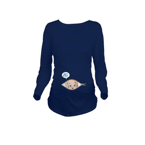 Maternity Shirt с длинным рукавом O-образным вырезом 3D-печать Смешная беременность Мама Топы Tee White L