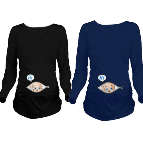 Maternity Shirt Long Sleeve O-Neck 3D Print Funny Pregnancy Mom Tops Tee White L