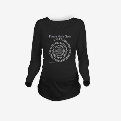 Maternity Shirt с длинным рукавом O-Neck Future Math Geek Печать Смешные беременность Мама Топы Tee Black L