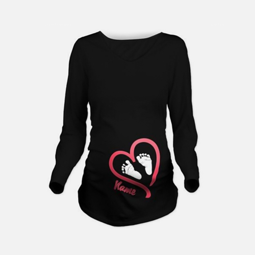 Maternity Shirt Long Sleeve O-Neck Footprint Funny Pregnancy Mom Tops Tee White L