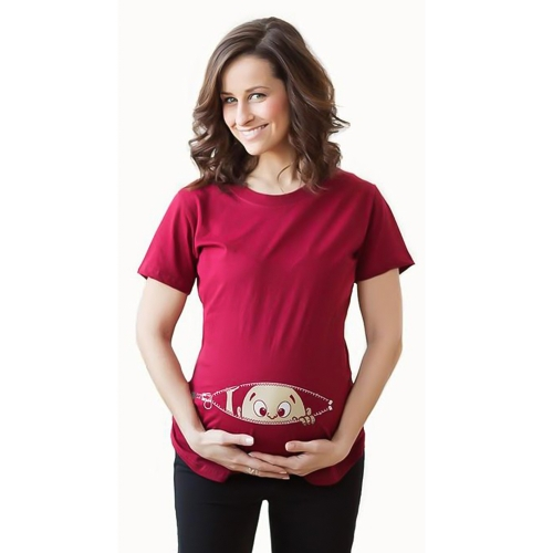 Maternity Shirt Short Sleeve O-Neck Side Ruched Funny Pregnancy Mom Tops Tee Wine Red  L
