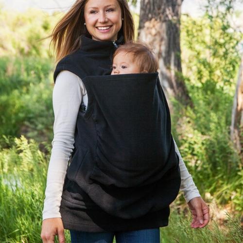 Womens Kangaroo Hoodie Sleeveless Vest Outwear Coat Jacket for Baby Carriers Black S