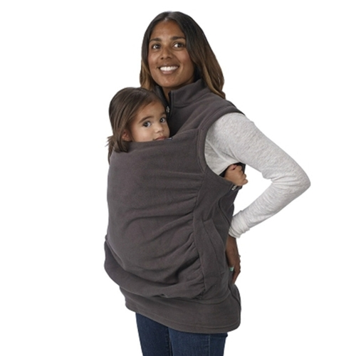 Womens Kangaroo Hoodie Sleeveless Vest Outwear Coat Jacket for Baby Carriers Black S