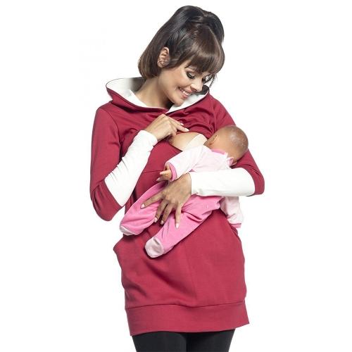 Женская одежда для грудных детей грудного вскармливания с капюшоном с длинными рукавами Толстовка Верхняя одежда Red S