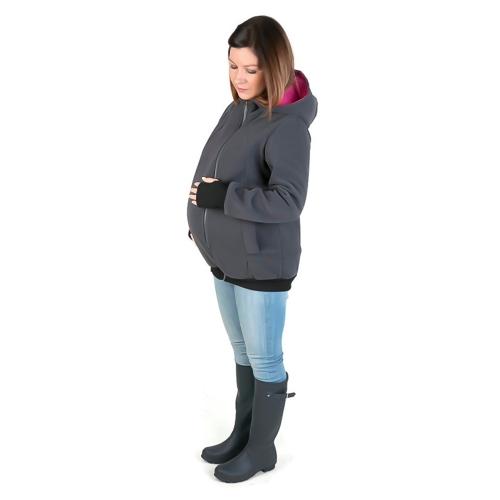 Multifunction Womens Maternity Hoodie Sweatshirt Kangaroo Hooded Outwear Coat Jacket for Baby Carriers Red S
