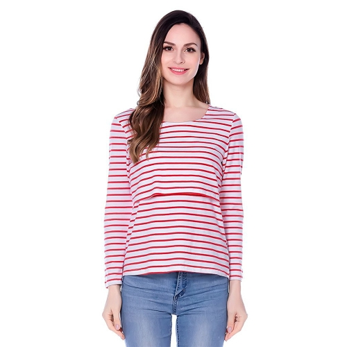 Womens Maternity Striped Nursing Breastfeeding Shirt Long Sleeves Top Clothes Red S