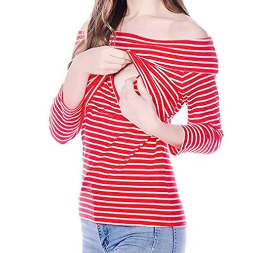 Womens Maternity Striped Nursing Breastfeeding Shirt Boat Neckline Top Clothes Red S