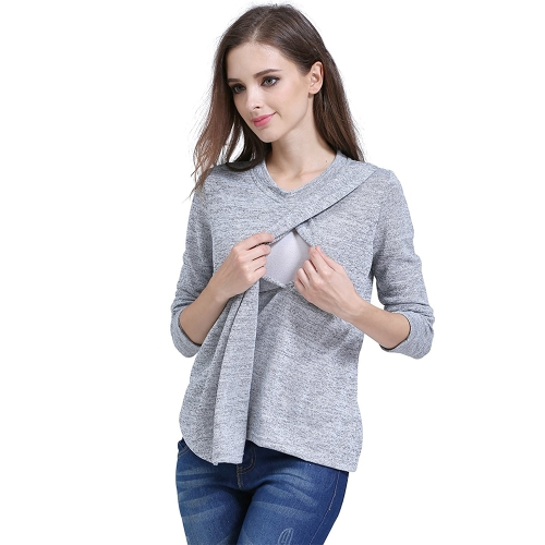 Womens Maternity Striped Nursing Breastfeeding Shirt Manga comprida Top Clothes Light Grey S
