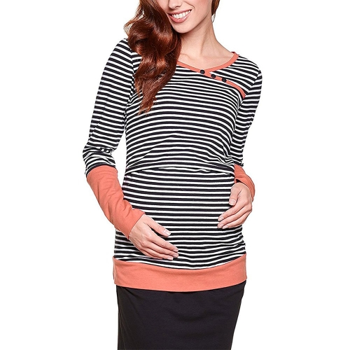 Womens Maternity Striped Nursing Breastfeeding Shirt Long Sleeves Top Clothes