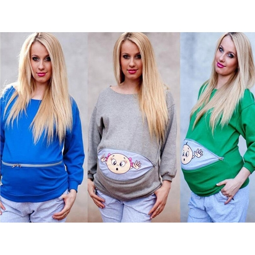 maternity sweatshirt long sleeve funny print zipper pregnancy mom tops sweater hoodie green s
