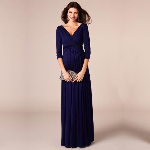 Femmes Robe de maternité robe froncé col en V 3/4 manches allaitement vêtements de grossesse avec ceinture bleu S