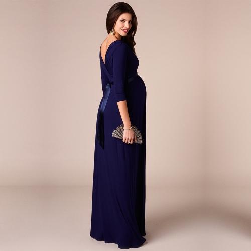 Image of Frauen Umstands Kleid Robe geraffte V-Ausschnitt 3/4 Ärmel Pflege Schwangerschaft Kleidung mit Gürtel blau S