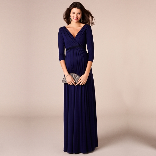 Women Maternity Dress Robe Ruched V-Neck 3/4 Sleeve Nursing Pregnancy Clothes With Belt Blue S