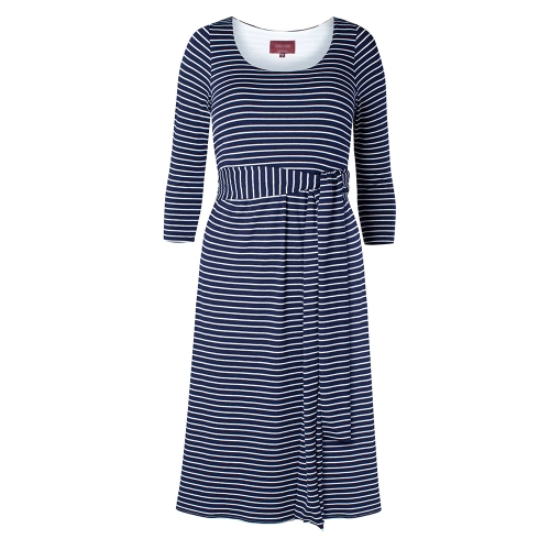 Women Maternity Dress Robe Round Neck 3/4 Sleeve Pregnancy Clothes With Belt Blue Stripe S