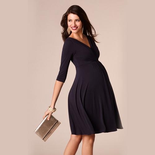 Image of Frauen Umstands Kleid Robe geraffte V-Ausschnitt 3/4 Ärmel Pflege Schwangerschaft Kleidung dunkelblau S