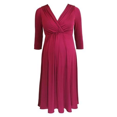 Платье для беременных женщин Robe Ruched V-Neck 3/4 Вязание для беременных Одежда для беременных Dark Blue S