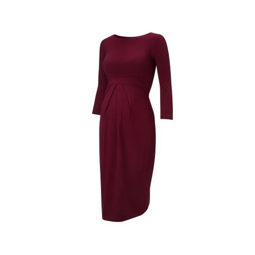 Vestido de maternidade feminino Vestido com roda em volta do pescoço 3/4 manga Vestuário de gravidez Vermelho S