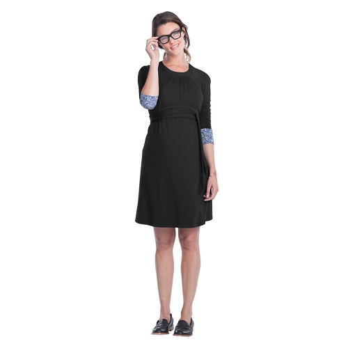 Women Maternity Dress Ruched Robe Round Neck 3/4 Sleeve Pregnancy Clothes With Belt Black S
