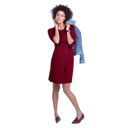 Image of Frauen Umstands Kleid geraffte Robe Rundhals 3/4 Ärmel Schwangerschaft Kleidung mit Gürtel schwarz S