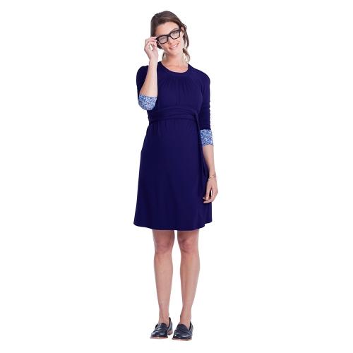 Женское платье для беременных Ruched Robe Round Neck 3/4 Sleeve Беременность Одежда с поясом Black S
