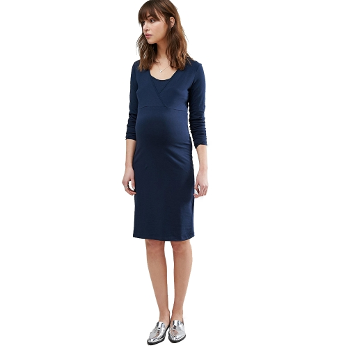 Women Maternity Nursing Dress Ruched Robe Round Neck 3/4 Sleeve Pregnancy Clothes Black S